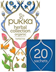 Pukka Herbs Collection, Selection of five Organic Herbal Teas, Elderberry & Echinacea - Lemon, Ginger and Manuka Honey - Night Time - Three Mint - Detox 20 Tea Bags (Pack of 1)