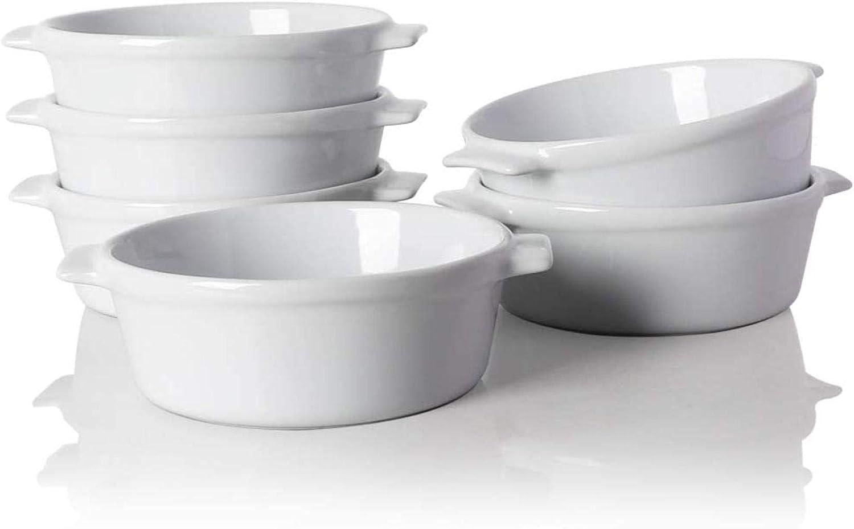 WYN Home Plat à soufflé en céramique, rond à double poignée de cuisson Blanc Blanc