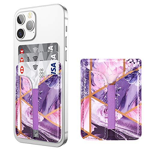 Dracool Soporte para tarjetas de teléfono, para tarjetas de crédito, de piel, elástico, con adhesivo 3M, para iPhone, Samsung, todos los smartphones, color morado