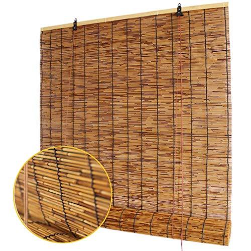 Mlxy Natürliche Reed Rolladen, Bambus-Römische Shades, Aus Schilf, Sonnenschirm, Halbschattierung, Retro, Geeignet Für Den Innengarten Im Freien