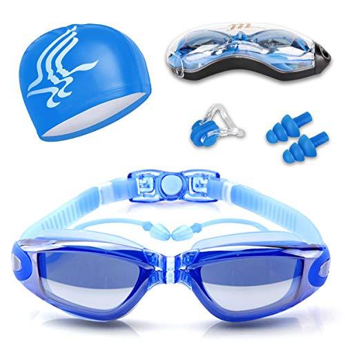 Occhiali da Nuoto, Occhialini Nuoto a specchio anti appannamento, anti UV, GRATIS Cuffia da Nuoto & Clip per Naso & Tappi per Orecchie, per Donne, Uomini, Adulti, Adolescenti e Bambino