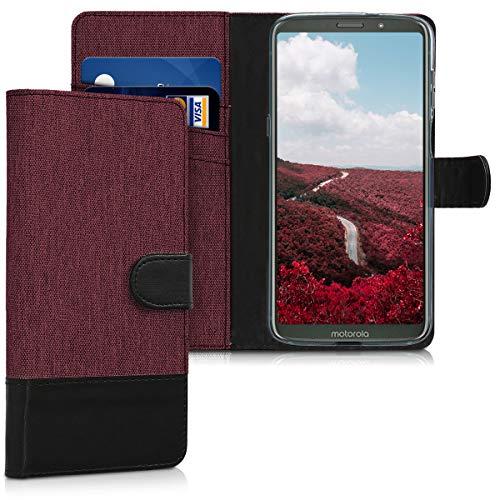 kwmobile Motorola Moto Z3 Play Hülle - Kunstleder Wallet Case für Motorola Moto Z3 Play mit Kartenfächern & Stand - Dunkelrot Schwarz