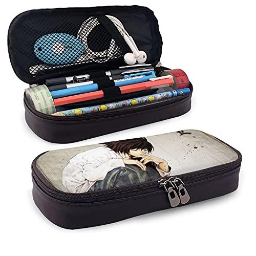 Death Note - Estuche de piel sintética para lápices de anime (gran capacidad, bolsa de papelería, bolsa de almacenamiento, bolsa de maquillaje, con cremallera, marrón, para escuela, trabajo, oficina