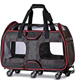 Katziela Pet Carrier with Removable Wheels - Soft Sided, Airline Approved Small Dog and Cat Carrying Bag with Telescopic Walking Handle, Mesh Ventilation Windows and Safety Leash Hook (Black)