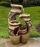 Wehmann Solarspringbrunnen Solarbrunnen Kreta Garten Brunnen Kaskade Komplettset für Garten und Terrasse Tag und Nacht ! NEU mit gratis Netzteil