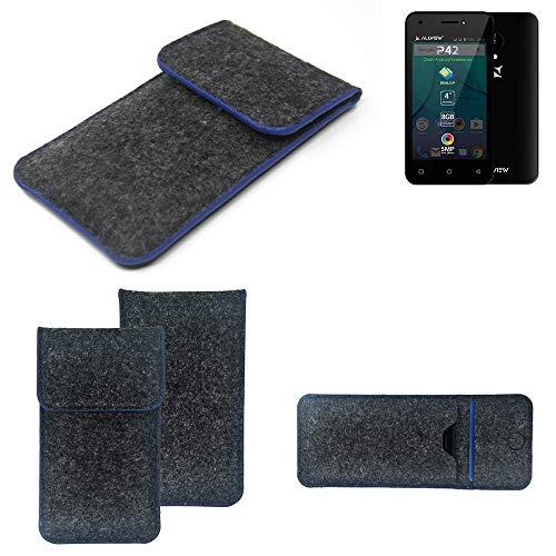 K-S-Trade Filz Schutz Hülle Für Allview P42 Schutzhülle Filztasche Pouch Tasche Hülle Sleeve Handyhülle Filzhülle Dunkelgrau, Blauer Rand