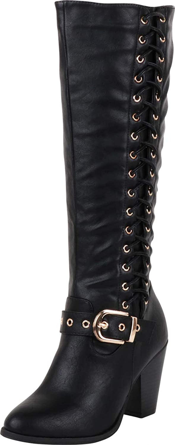 Cambridge Select Women's Corset Side Lace Strappy Buckle Chunky Stacked Heel Mid-Calf Boot