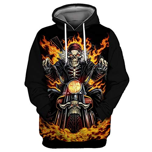 Black Sky Flame Motorcycle Skull Print Casual Ropa Deportiva para Hombre Tylmsf00050 3XL