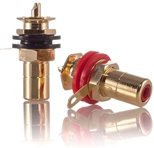 Hifi Lab Cinch Einbau-Buchse 24-k vergoldet Sich Buchse RCA Audio High-End Verbinder Plug Jack Chinch Anschluss Premium 2X