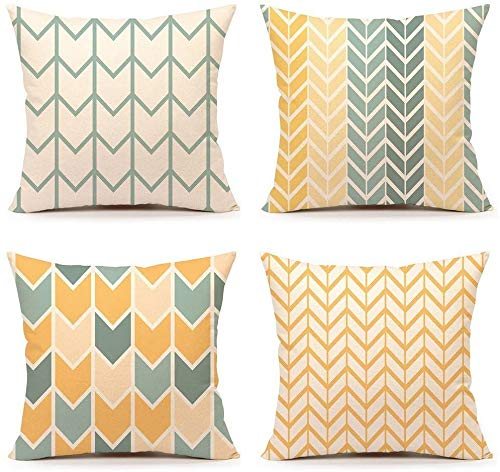 TIDWIACE Orange Gelb Kissenbezüge Baumwolle und Leinen Kissenhüllen mit Geometrischen Mustern für Sofa Haus Zimmer Auto Deko Zierkissenbezüge 45 x 45 cm,4 er Pack