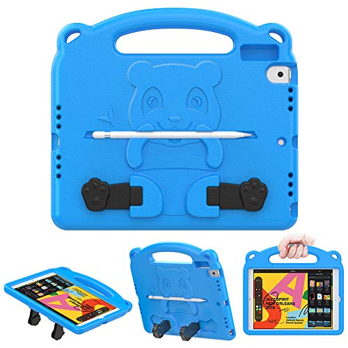 MoKo Case Fit iPad 7th Generation 10.2' 2019/iPad 10.2 Case/iPad Air (3rd Generation) 10.5' 2019/iPad Pro 10.5 2017, Kids Friendly EVA Foam Shock Proof Handle Protective Stand Cover Case - Blue