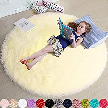 Pale Yellow Round Rug for Bedroom,Fluffy Circle Rug 4 X4  for Kids Room,Furry Carpet for Teen Girls Room,Shaggy Circular Rug for Nursery Room,Fuzzy Plush Rug for Dorm,Cute Room Decor for Baby
