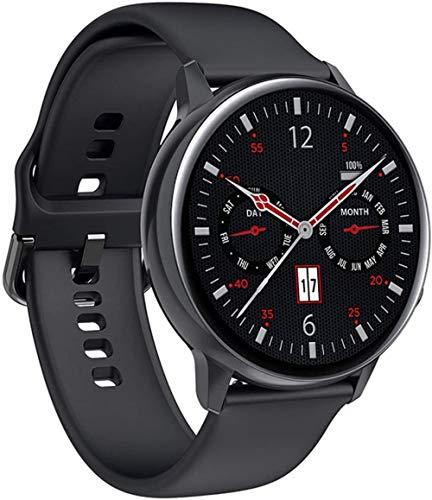 Reloj inteligente con pantalla de 1 de 19 pulgadas, monitor de actividad física, podómetro, pulsera de marcado personalizado, mensaje push Smart Recordatorio IP68, resistente al agua, 230 mAh-negro