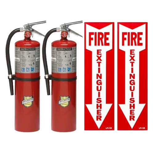 BUCKEYE Fire Extinguisher, 4A:80B:C, 10 lb, 21in.H, Red