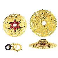自転車のフライホイール、自転車のボックス、クロム モリブデン鋼とアルミニウム合金の超軽量泥雨設計、9/10/11/12速度自転車フライホイール ゴールド製造,12s 50t