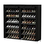 UDEAR Shoe Rack Free Standing Portable Shoes Storage Organizer Black
