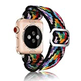Adjustable Elastic Strap Band for Apple Watch, 38mm 40mm, Children and Boys Band Strap Bracelet Aztec Style Scrunchie Watch Band for iWatch Series 1 2 3 4 5 6 SE