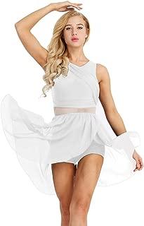 ranrann Women's Lyrical Dance Costume Dress Illusion V-Neck Chiffon High-Low Skirted Leotard Modern Contemporary Dresses