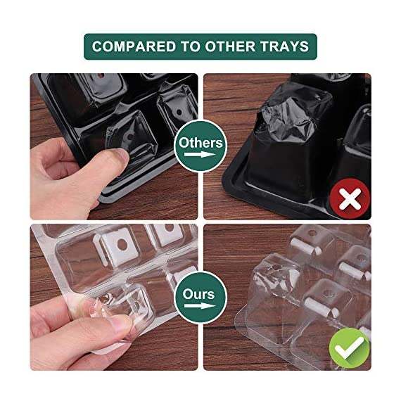 Acmind 10 Packs Seed Starter Trays Seedling Tray, Humidity Adjustable Kit with Dome and Base Greenhouse Grow Trays Mini… 6 Keep and eye on your growth:Our germination growing trays kit made of high quality transparent and durable plastic, this seed trays make it easy to observe your plants without interrupting the process. Seed starter tray contains: 10 x seed tray, 10 x bottom tray(5 Green & 5 Black), 10 x humidity dome(5 Green & 5 Black), 2 x garden tools, 20 x plant labels (A must have for seedling). Good Helper of Seed Starter:Adjustable vents on the humidity dome of this seed starter kit allow you to regulate the temperature and humidity of your seedling environment, so you have total control over the growing process.