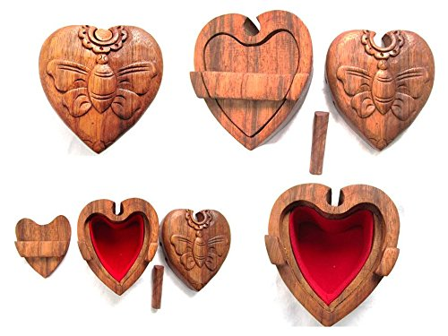 Trickbox Tricktruhe Truhe Schatztruhe Puzzlebox Geheimschatulle Holz Truhe Herz Katze Eule SchildkröteSchatzkiste Schmuck (Herz)