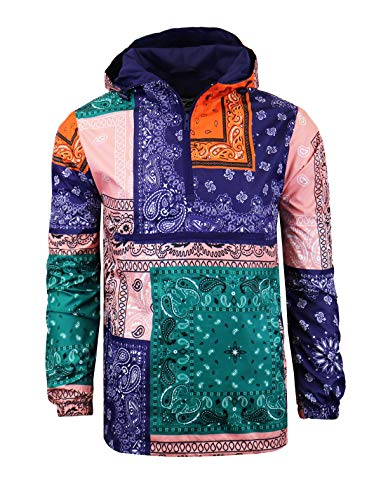 SCREENSHOTBRAND-S51011 Hip-Hop Hooded Water Resistant Windbreaker - Outdoor Lightweight Bandana Pullover Jacket-Purple-Medium