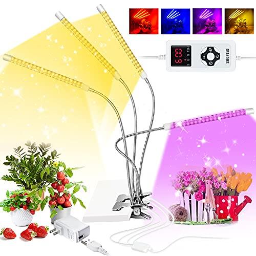 Lámpara de Plantas,SHOPLED Espectro Completo con 264 LED 4 Cabezales Lámpara de Crecimiento,9 Niveles Regulable y Rotación 360° 4 Modos Auto 3/6/9/12H Regulable para Siembra,Germinación y Floración