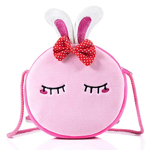 Czemo Kinder Umhängetasche Mädchen Handtasche Schultertasche Plüsch Geldbeutel Kindertasche Mädchen Spielzeug (Kaninchen)