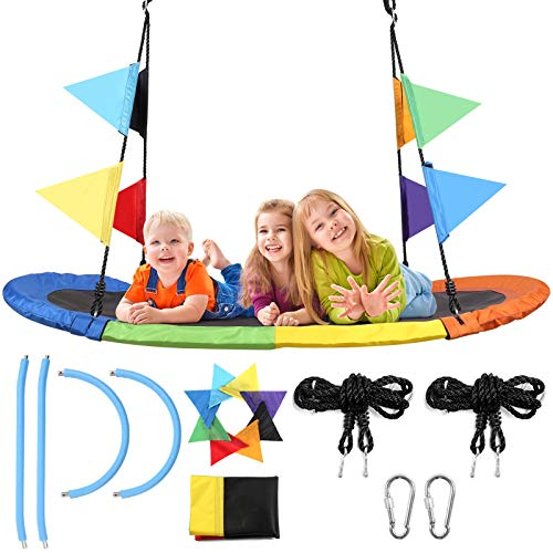 Odoland 60 Giant Inch Oval Platform Tree Swing for Kids and Adult - Waterproof Fabric Large Flying Outdoor Indoor Saucer Hammock - Platform Surf Swing Sets for Backyard, Playground, Playroom