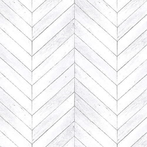 Norwall G68001 Chevron Wood Wallpaper, Grey, Light Grey, Script White, Dove