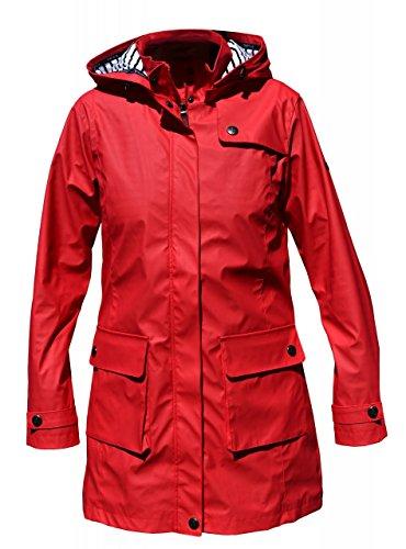 Batela Damen Regenmantel 3/4 Länge Friesennerz mit Innenfutter, Farbe:rot, Größe:46