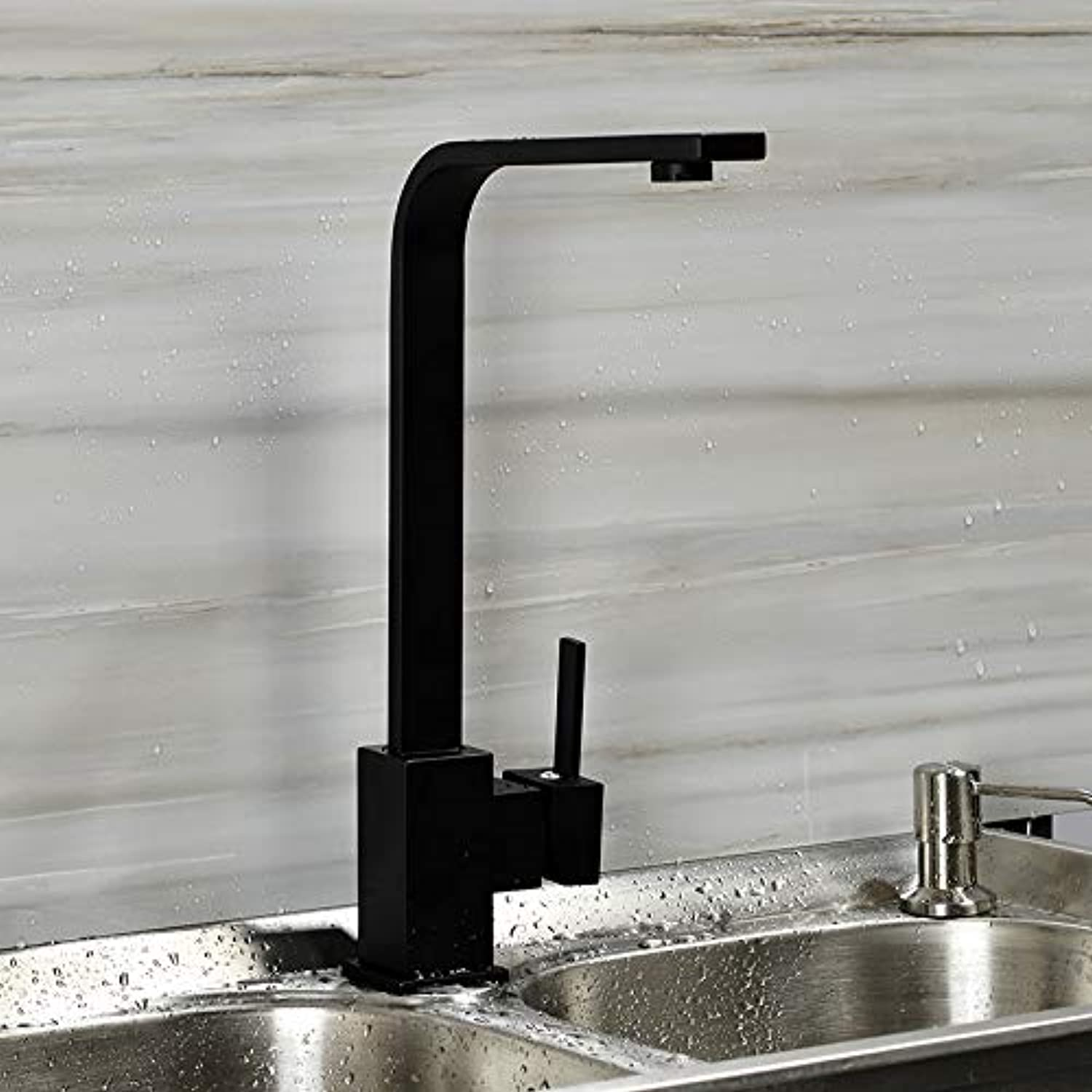 Decorry Black Square Kitchen Faucets 360 Degree redation Tap Water Faucets Solid Brass Kitchen Sink Tap Water Mixer G2034