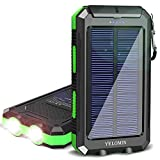 Solar Charger,YELOMIN 20000mAh Portable Waterproof Solar Power Bank for Cellphones,External Backup Pack Battery Dual USB Outputs/LED Flashlights,Compatible with Tablets and Other Devices