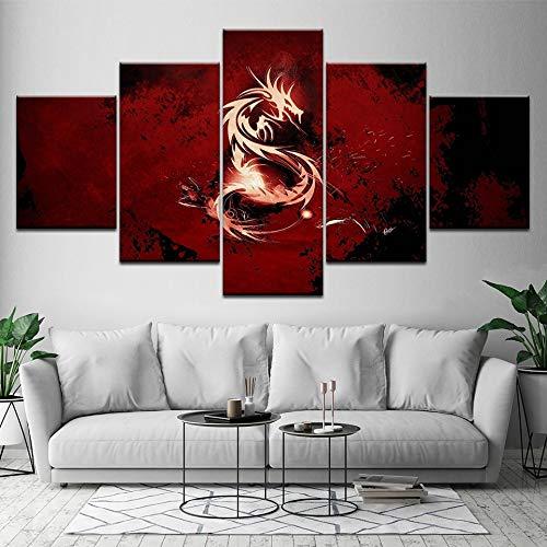 5 panel inkjet olieverf bloed rode draak muurschildering foto woonkamer woondecoratie schilderen modulaire kunstwerk