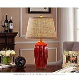 ETH lámpara de mesa Retro Lámpara Del Dormitorio De La Lámpara De Noche Americana Moderna Sala De Estar Minimalista De Estilo Europeo De Cerámica Sitio De La Unión Nórdica Matrimonio D10xH62cm Decorad