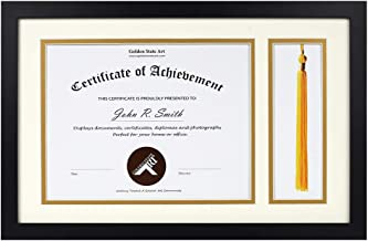 Golden State Art,11x17.5 for 8.5x11 Document/Certificate - Black Diploma Tassel Shadow Box - Double Mat (Ivory Over Gold) - Tassel Holder - Sawtooth Hangers, Swivel Tabs, Real Glass