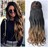 DevaLook 25 Inches Half Head One Piece Long Wavy Clip in Hair Extensions Ombre 2 Tones DL (25' - Natural black/honey blonde)