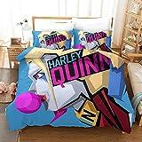 Vampsky DC Comics comodín Hoja de Harley Quinn de edredón con armarios de ropa de cama suave Niños Hoja Set, 3 pieza suicidas Tamaño Escuadrón 100% Poliéster Reversible Inicio texitile Sistemas del le