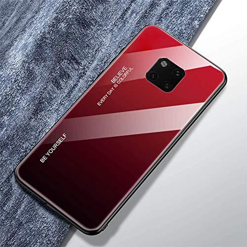 Urhause Compatible con Funda Huawei Mate 20 Pro Carcasa Trasera Case Vidrio Templado Degradado Color Cubierta Ultradelgado Anti-Rasguño Funda Protección 360 Grados Rígido Dura Bumper,Negro Rojo