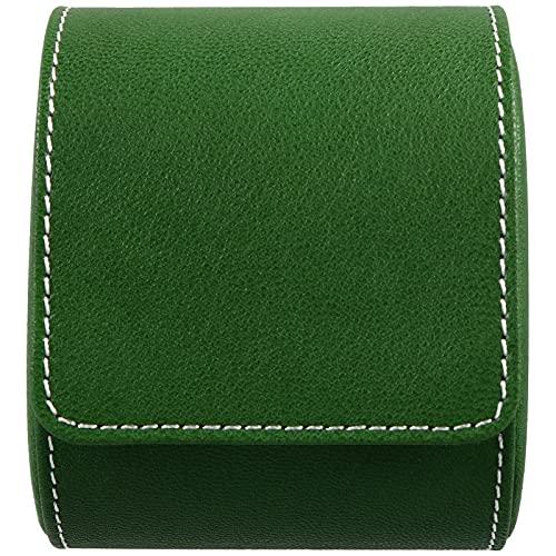 Hemobllo Caja de almacenamiento de piel para relojes y joyas, organizador de viaje, bolsa de regalo, soporte para collares, anillos, pulseras, pendientes, pulseras, hombres y mujeres, luz verde