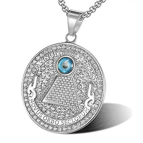 BOLOG Alles sehende Auge Halskette Blaue Evil Eye Pyramide Anhänger Halskette Edelstahl Kette Strass Kristall Halskette für Männer Frauen