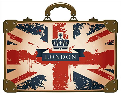 Y·JIANG Union Jack Paint by Numbers, Vintage Travel Suitcase with British Flag London Ribbon and Crown Image DIY Canvas Acrylic Oil Painting by Numbers for Adults Kids Home Wall Decor, 16 x 20 Inches