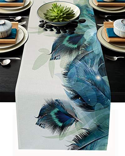 Camino de mesa de arpillera de lino, bufandas de 45,7 x 182,8 cm, plumas de pavo real, azul turquesa y verde, caminos de mesa para fiestas de vacaciones, comedor, cocina, decoración de boda