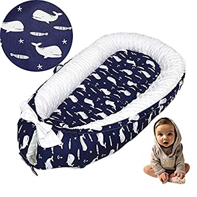 Brandream Baby Nest Bed Whale, Navy Baby Newborn Lounger, Breathable Double-Sided Baby Bassinets for Bed Portable Crib Bed Prefect for Co Sleeping 100% Cotton, Ocean Animal Theme