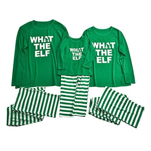 Familie Kerstmis Pyjama Set Mama Dad Kids Pyjama 2 Stks Pjs Slaapmode Outfits Sets Lange Mouw Gedrukte Letter Top T-Shirt+Stripe Broek Xmas Kleding Nachtjassen Dressing Gowns voor Papa Mama Kids