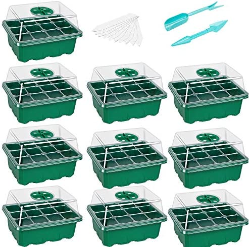 10 Pack Seed Starter Trays Seedling Tray 12 Cells per Tray Humidity Adjustable Plant Starter product image