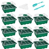 10-Pack Seed Starter Trays Seedling Tray (12 Cells per Tray) Humidity Adjustable Plant Starter Kit with Dome and Base Greenhouse Grow Trays for Seeds Growing Starting
