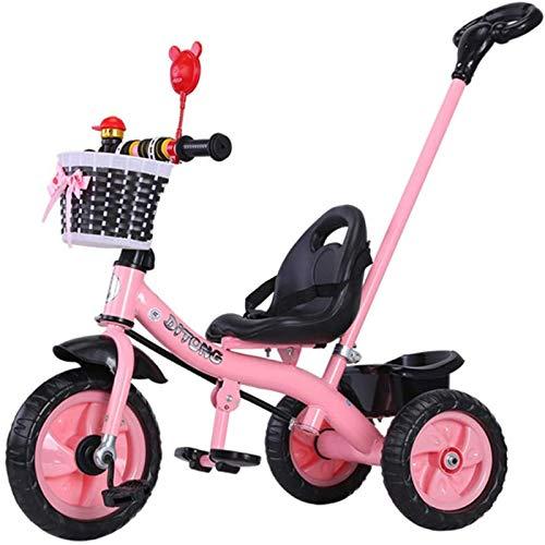 2In1 Triciclo para niños de 1 a 6 años con barra de empuje orientable, líneas de susurros llantas de goma, banco infantil para niños y niñas, con cinturón de seguridad, área de almacenamiento