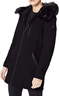 womens Jacket Anorak Trimmed Hood, With Detachable Faux Fur and Fuzzy Fleece Lining
