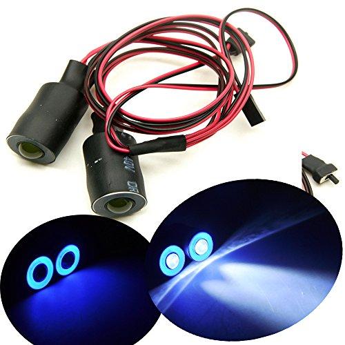 17mm 2 LEDs Angel Eyes Light Licht Scheinwerfer/Rücklicht für 1:10 RC Crawler Car (Blau + Weiß)