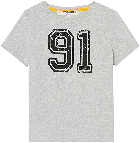 Amazon-Marke: RED WAGON Jungen T-Shirt mit Sport-Print, Grau, 128, Label:8 Years